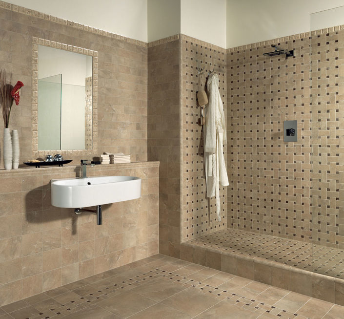 Beige Porcelain Tile Bathroom Mosaic
