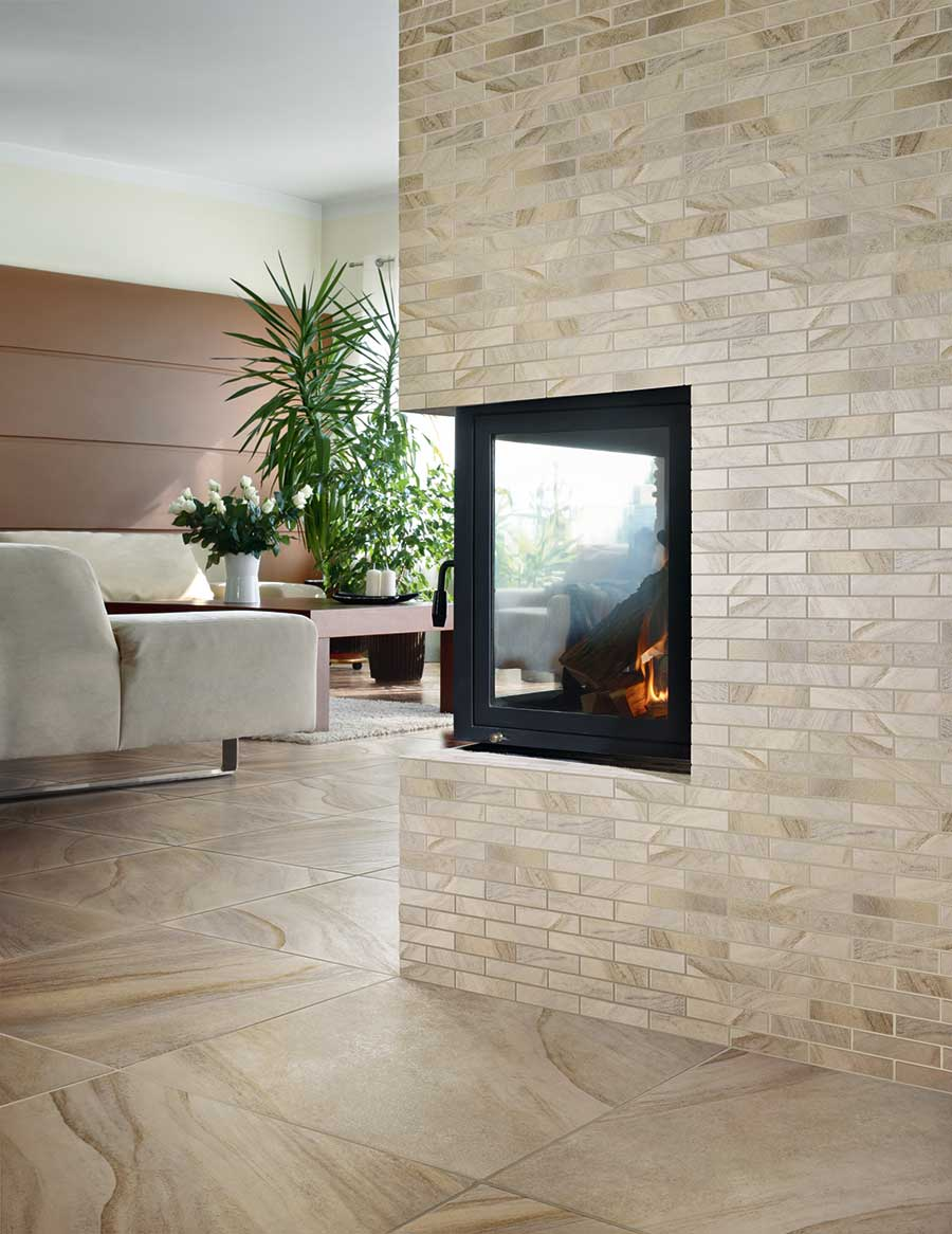 Tile Different Sizes Porcelain Fireplace