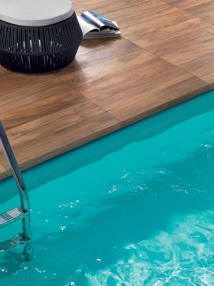 porcelain wood tile   pool