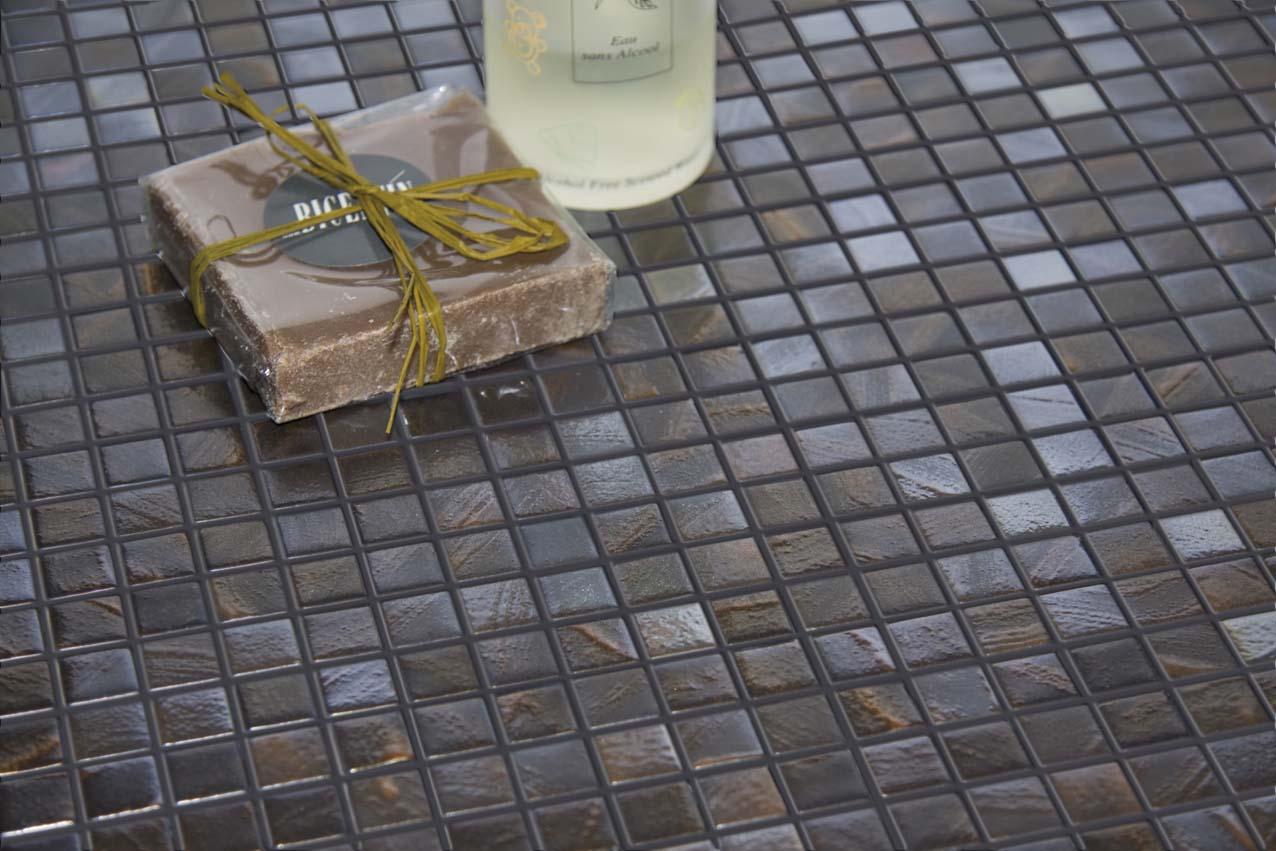 VDRPR SAN DIEGO MARBLE TILE BATHROOM IRRIDESCENT MOSAIC Titanium