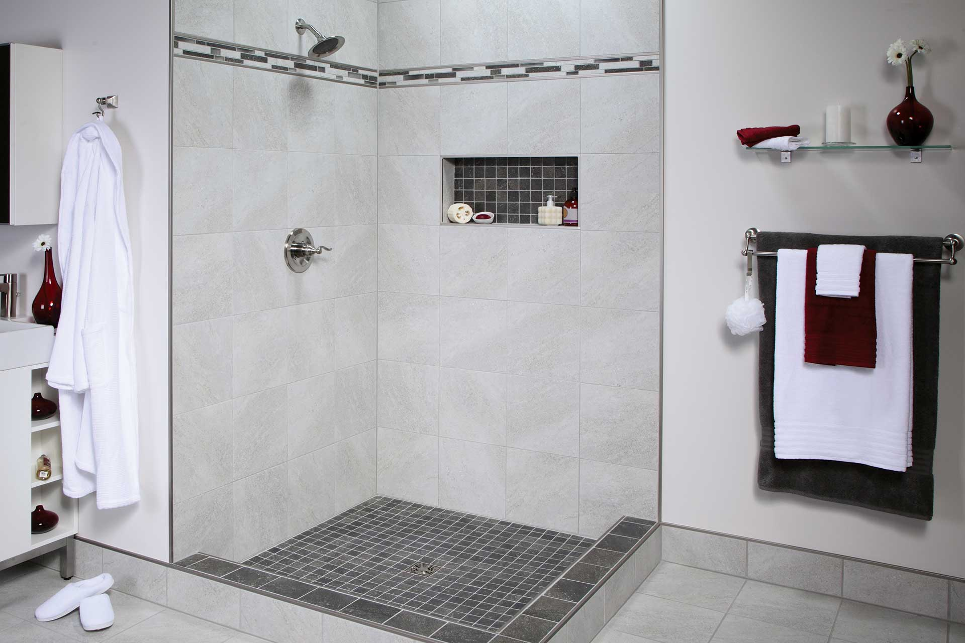 bathroom shelf style niche shower tiled awesome