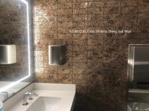 recycled glass mosaic tile used in restroom