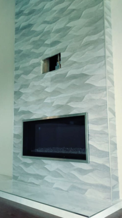 dimensional tile used for fireplace surround