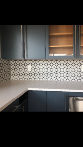 fun tile design used for kitchen backsplash